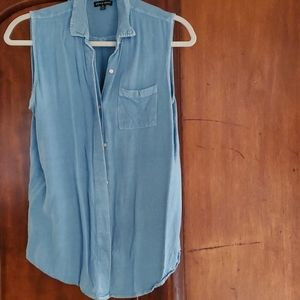 Style Envy XL blue button up sleeveless blouse